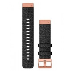 Garmin Quickfit 20mm Heathered Black Nylon Band with Rose Gold