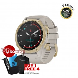 Garmin Descent MK2S Light Gold with Light Sand Silicone Band
