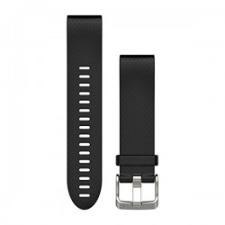 Garmin Quickfit 20 Watch Bands Silver with Black Silicone