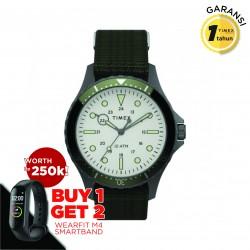 Timex Navi 41mm Gunmental Case White Dial Green Fabric - TW2T75500