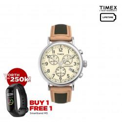 Timex Standard Chronograph 41mm Leather Strap Watch - TW2U58100