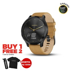 Garmin Vivomove HR Premium Onyx Black with Tan Suede