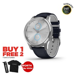 Garmin Vivomove Luxe Silver-Navy Leather