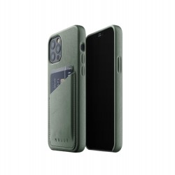 Mujjo - Leather Wallet Case for iPhone 12 & 12 Pro Slate Green