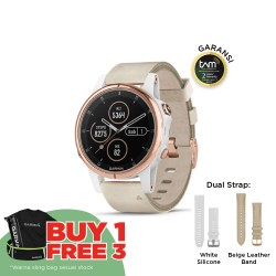 Garmin Fenix 5S Plus - Sapphire Rose Gold W/ Beige Leather Band