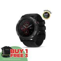 Garmin Fenix 5X Plus - Sapphire DLC Carbon Gray W/ Black Band