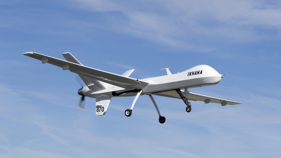 March 5, 2007 - Narrow wings, a Y-tail and rear engine layout distinguish the Ikhana science aircraft, a civil variant of General Atomics' Predator B unmanned aircraft system.